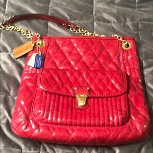 Rare Coach red quilted shoulder bag